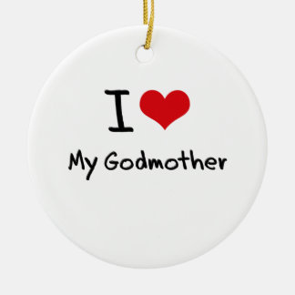 I Love My Godmother Double-Sided Ceramic Round Christmas Ornament