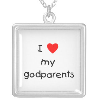 I Love My Godparents Silver Plated Necklace