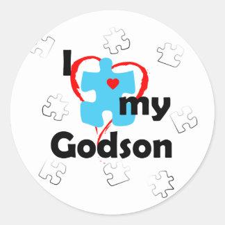 I Love My Godson - Autism Classic Round Sticker