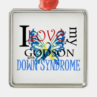 I Love My Godson with Down Syndrome Metal Ornament