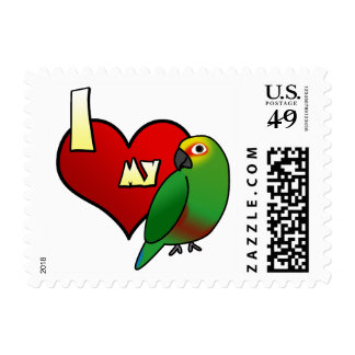 I Love my Golden Capped Conure Postage Stamps