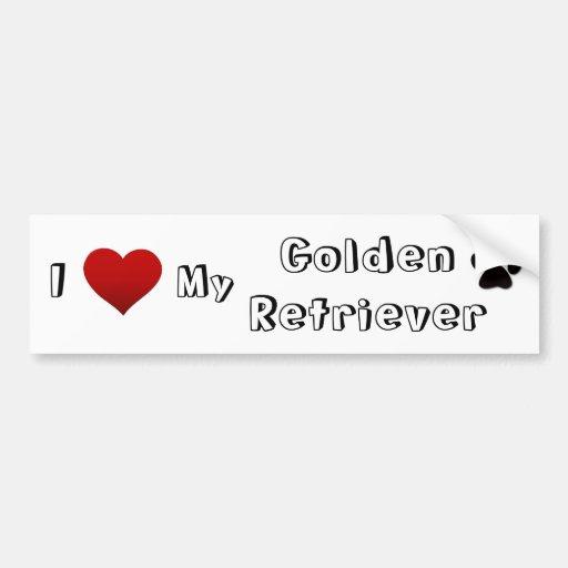 i love my golden car bumper sticker