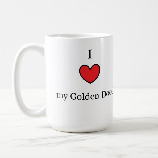 I Love My Golden Doodle, Red Heart Classic White Coffee Mug