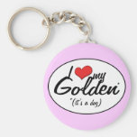 I Love My Golden (It's a Dog) Key Chains