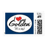 I Love My Golden (It's a Dog) Stamp