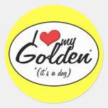 I Love My Golden (It's a Dog) Classic Round Sticker