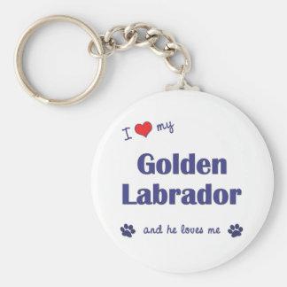 I Love My Golden Labrador (Male Dog) Keychain