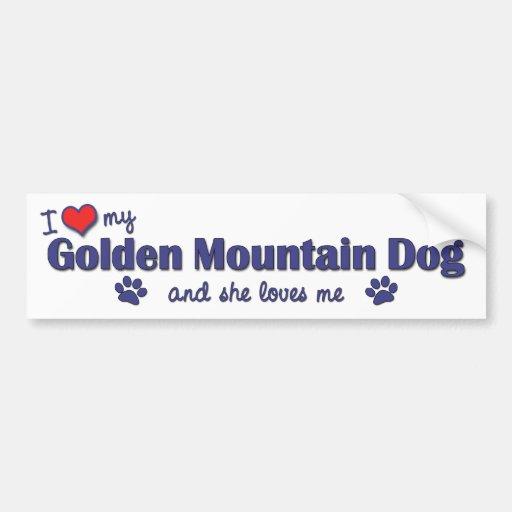 I Love My Golden Mountain Dog (Female Dog) Car Bumper Sticker
