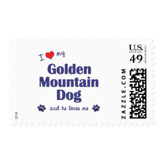 I Love My Golden Mountain Dog (Male Dog) Postage Stamps