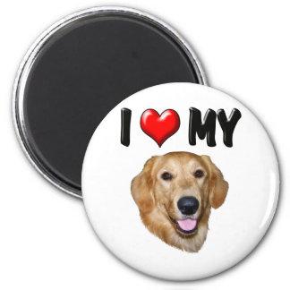 I Love My Golden Retriever 2 2 Inch Round Magnet