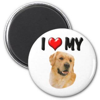 I Love My Golden Retriever 2 Inch Round Magnet