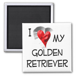 I Love My Golden Retriever 2 Inch Square Magnet