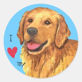 I Love my Golden Retriever Classic Round Sticker