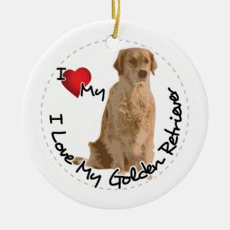 I Love My Golden Retriever Dog Ceramic Ornament