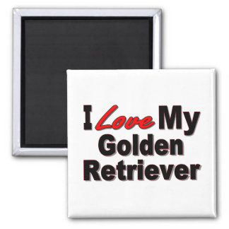 I Love My Golden Retriever Dog Gifts 2 Inch Square Magnet
