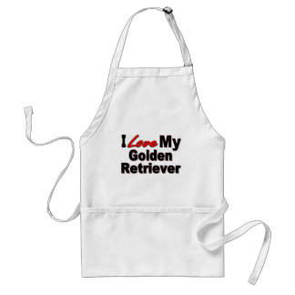 I Love My Golden Retriever Dog Gifts Aprons