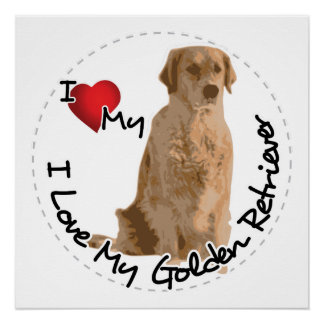 I Love My Golden Retriever Dog Poster