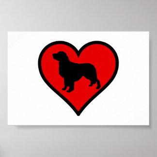 I Love my Golden Retriever dog Silhouette Heart Poster