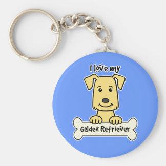 I Love My Golden Retriever Keychain
