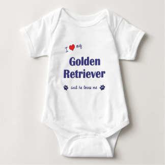 I Love My Golden Retriever (Male Dog) Baby Bodysuit