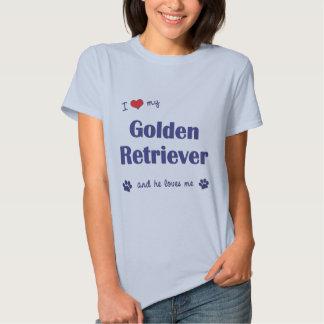 I Love My Golden Retriever (Male Dog) T Shirts