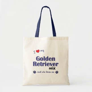 I Love My Golden Retriever Mix (Female Dog) Canvas Bags