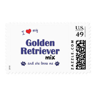 I Love My Golden Retriever Mix (Female Dog) Postage Stamps