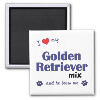 I Love My Golden Retriever Mix (Male Dog) 2 Inch Square Magnet