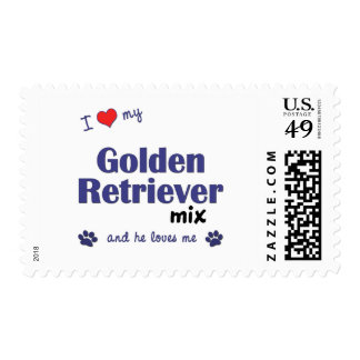 I Love My Golden Retriever Mix (Male Dog) Stamp