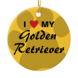 I Love My Golden Retriever Pawprint Ceramic Ornament