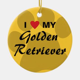 I Love My Golden Retriever Pawprint Ceramic Ornament
