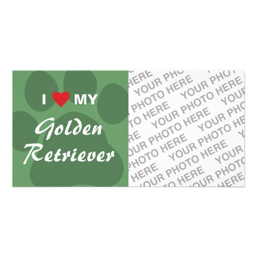 I Love My Golden Retriever Pawprint Personalized Photo Card