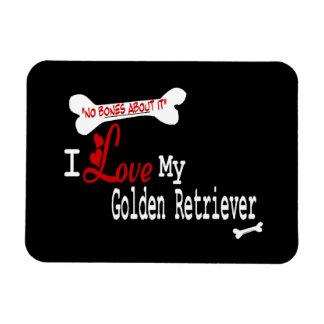 I Love My Golden Retriever Rectangular Photo Magnet