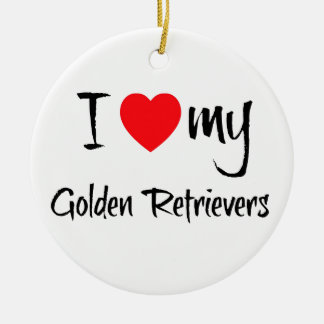 I Love My Golden Retrievers Double-Sided Ceramic Round Christmas Ornament
