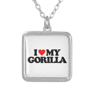 I LOVE MY GORILLA SILVER PLATED NECKLACE