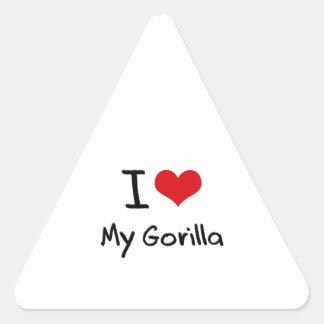 I Love My Gorilla Triangle Stickers