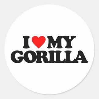 I LOVE MY GORILLA ROUND STICKERS