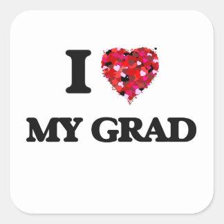 I Love My Grad Square Sticker