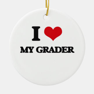 I Love My Grader Double-Sided Ceramic Round Christmas Ornament
