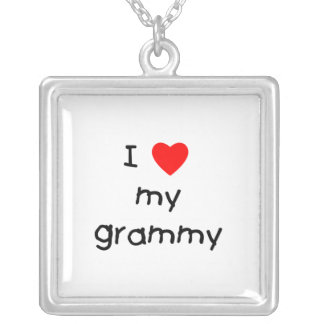 I Love My Grammy Square Pendant Necklace