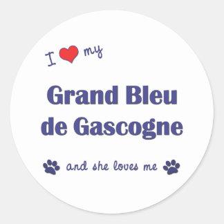 I Love My Grand Bleu de Gascogne (Female Dog) Classic Round Sticker