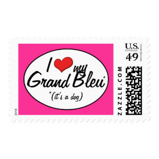 I Love My Grand Bleu (It's a Dog) Postage