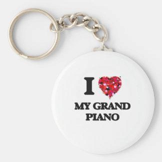 I Love My Grand Piano Basic Round Button Keychain