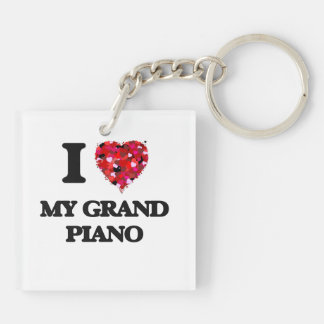 I Love My Grand Piano Double-Sided Square Acrylic Keychain
