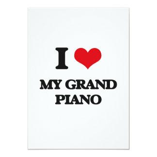 I Love My Grand Piano 5x7 Paper Invitation Card