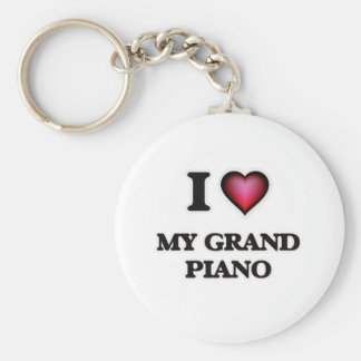 I Love My Grand Piano Keychain