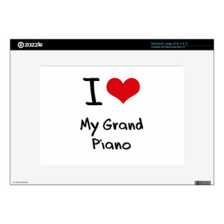 I Love My Grand Piano Large Netbook Decals