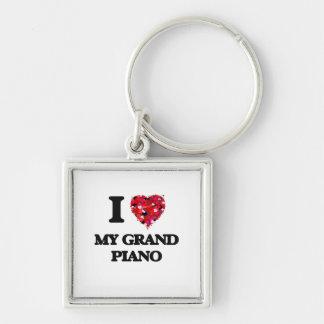 I Love My Grand Piano Silver-Colored Square Keychain