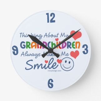 I Love My Grandchildren Round Clock