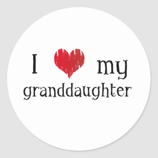 I love my granddaughter classic round sticker
